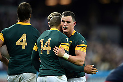 Bryan Habana of South Africa is congratulated on his try by Jesse Kriel of South Africa - Mandatory byline: Patrick Khachfe/JMP - 07966 386802 - 07/10/2015 - RUGBY UNION - The Stadium, Queen Elizabeth Olympic Park - London, England - South Africa v USA - Rugby World Cup 2015 Pool B.
