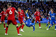Peterborough United midfielder Siriki Dembele (10) with an acrobatic shot during the EFL Sky Bet League 1 match between Peterborough United and Walsall at London Road, Peterborough, England on 22 December 2018.