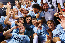 August 13, 2017 - Rome, Italy - Lazio team celebrating after the victory after winning the Italian SuperCup TIM football match Juventus vs Lazio on August 13, 2017 at the Olympic stadium in Rome. (Credit Image: © Matteo Ciambelli/NurPhoto via ZUMA Press)