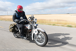 Michael Gontesky riding his 1925 Harley-Davidson JD on the Motorcycle Cannonball coast to coast vintage run. Stage 12 (242 miles) from Great Falls to Kalispell, MT. Thursday September 20, 2018. Photography ©2018 Michael Lichter.