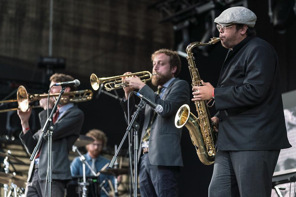 British progressive rock trio Public Service Broadcasting at Haldern Pop Festival