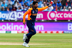 Kuldeep Yadav of India celebrates taking the wicket of Jason Roy of England - Mandatory by-line: Robbie Stephenson/JMP - 30/06/2019 - CRICKET - Edgbaston - Birmingham, England - England v India - ICC Cricket World Cup 2019 - Group Stage