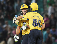 Cricket - 2017 Natwest T20 Blast - Quarter-Final: Surrey vs. Birmingham Bears<br /> <br /> Grant Elliot and Colin de Grandhomme of Birmingham celebrate after their winning runs at The Oval.<br /> <br /> COLORSPORT/ANDREW COWIE