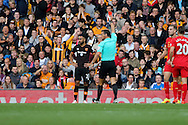 Ahmed Elmohamady of Hull City is sent off as he receives a red card from referee Andre Marriner. Premier League match, Liverpool v Hull City at the Anfield stadium in Liverpool, Merseyside on Saturday 24th September 2016.<br /> pic by Chris Stading, Andrew Orchard sports photography.