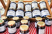 Locally grown and made jams on display at the Farmers Market along Main Street in downtown Greenville, South Carolina.