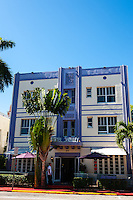 US, Florida, Miami Beach. Art Deco, Hotel Shelley, Collins Ave.
