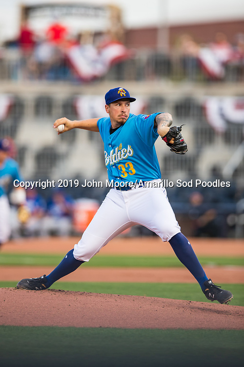 Amarillo Sod Poodles pitcher Lake Bachar (33) pitches against the Tulsa Drillers during the Texas League Championship on Tuesday, Sept. 10, 2019, at HODGETOWN in Amarillo, Texas. [Photo by John Moore/Amarillo Sod Poodles]