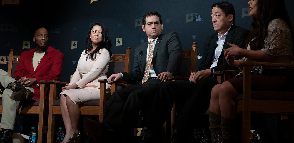 Former State Rep. Matt Rinaldi, a Dallas lawyer, shown during his career at the Texas Capitol   in 2017 . Rinaldi will succeed Allen West as chair of the Republican Party of Texas. Left to right are State Rep. James White, Rep. Victoria Neave, Matt Rinaldi, and Rep. Gene Wu.  (Bob Daemmrich/CapitolPressPhoto)