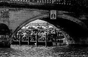 Henley on Thames, Henley. UK.<br /> <br /> 1996 Henley Royal Regatta, Henley on Thames, ENGLAND. <br /> <br /> 1996, GV the Angel Pub, Garden through Henley Bridge Arch,<br /> <br /> <br /> [Mandatory Credit Peter Spurrier/ Intersport Images] ...........Rowing Courses, Henley Reach, Henley, ENGLAND. HRR