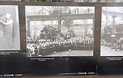 Public display of old historic images about the GWR works, Swindon, Wiltshire, England, UK workers at naming ceremony for new engine 1960