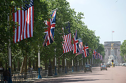 © licensed to London News Pictures. 23/05/2011. London, UK. The Starts and Stripes, the American flag being hung with The Union Flag along The Mall today (23/05/2011) in preparation for the arrival of the U.S. President Barak Obama to the UK tomorrow. Photo credit should read: Ben Cawthra/LNP