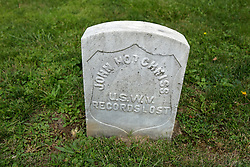 26 August 2017:   A part of the History of McLean County Illinois.<br /> <br /> Tombstones in Evergreen Memorial Cemetery.  Civic leaders, soldiers, and other prominent people are featured. Section 5, the old town soldiers area<br /> John Hotchiss  U.S.W.V   Records lost