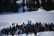 The third and last day of the Strike WEF march on Davos on 21st of January 2020 in Davos, Switzerland. We Rise Up written in the snow. The authorities had refused permission for the march to walk on the road into Davos so many hiked across the mountains from Klosters to get there. The march is a three day protest against the World Economic Forum meeting in Davos. The activists want climate justice and think that The WEF is for the worlds richest and political elite only.