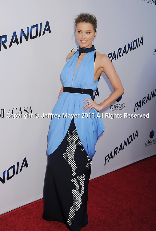 LOS ANGELES, CA- AUGUST 08: Actress Amber Heard arrives at the 'Paranoia' - Los Angeles Premiere at DGA Theater on August 8, 2013 in Los Angeles, California.