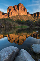 Salt river bluffs refelcting in the Salt River at sunset, Arizona