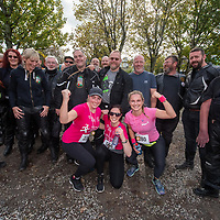 REPRO FREE<br /> Alison Chambers, Ballinspittle; Alice Taylor, Innishannon and Nicola Hurley, Ballinspittle pictured with members of the Shamrock Rose Motocycle Club at the 2019 Kinsale Pink Ribbon Walk in aid of the Irish Cancer Society Action Breast Cancer.<br /> Picture. John Allen