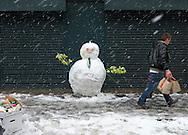Snowman in Leather Lane Market, London, Britain