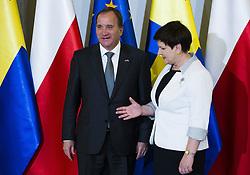 June 20, 2017 - Warsaw, Poland - Polish Prime Minister Beata Szydlo welcoming Sweden Prime Minister Stefan Lofven in Warsaw, Poland, 20 June, 2017  (Credit Image: © Krystian Dobuszynski/NurPhoto via ZUMA Press)
