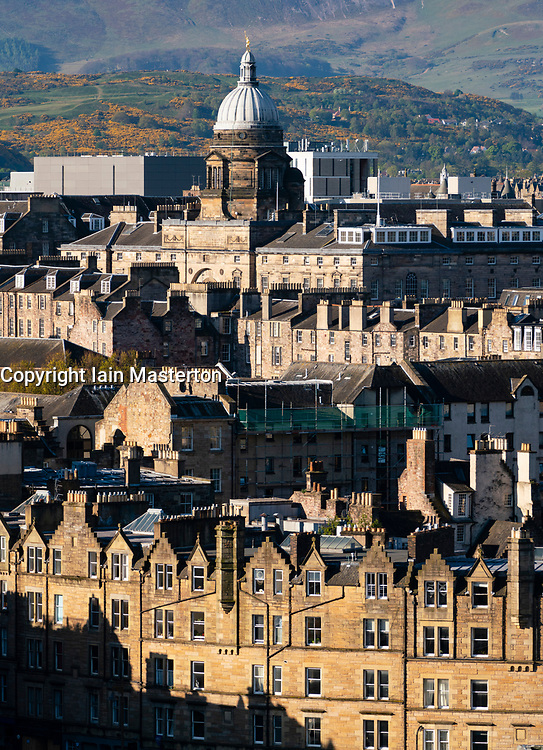 Early morning view of buildings in the Old Town of Edinburgh, Scotland UK