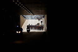 Peloton approach the Emmen Tunnel at Ronde van Drenthe 2017. A 152 km road race on March 11th 2017, starting and finishing in Hoogeveen, Netherlands. (Photo by Sean Robinson/Velofocus)