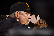 San Francisco Giants manager Bruce Bochy (15) watches a game against the Colorado Rockies from the dugout at AT&T Park in San Francisco, Calif., on September 27, 2016. (Stan Olszewski/Special to S.F. Examiner)