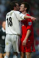 Photo: Chris Brunskill, Digitalsport<br /> Liverpool v Bolton Wanderers . FA Barclays Premiership. 02/04/2005. Nicky Hunt of Bolton squares up to John Arne Riise of Liverpool