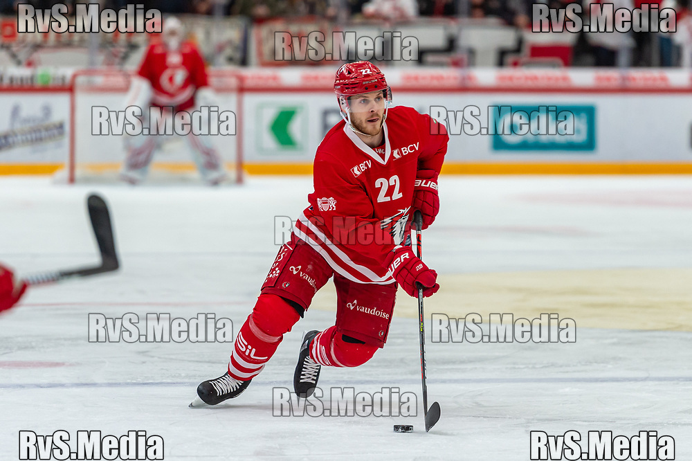 LAUSANNE, SWITZERLAND - NOVEMBER 15: #22 Christoph Bertschy of Lausanne HC in action during the Swiss National League game between Lausanne HC and EHC Biel-Bienne at Vaudoise Arena on November 15, 2019 in Lausanne, Switzerland. (Photo by Monika Majer/RvS.Media)