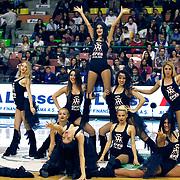 Anadolu Efes's show girls during their Turkish Basketball League match Anadolu Efes between Antalya BSB at the Ayhan Sahenk Erdem Arena in Istanbul, Turkey, Sunday, February 24, 2013. Photo by Aykut AKICI/TURKPIX