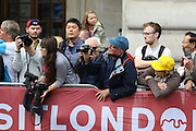 Fans eager to get a photo of the riders during the London Stage of the Aviva Tour of Britain, Regent Street, London, United Kingdom on 13 September 2015. Photo by Ellie Hoad.