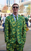 Ireland fan looking good in a custom made suit during the Rugby World Cup Pool D match between Ireland and Italy at the Queen Elizabeth II Olympic Park, London, United Kingdom on 4 October 2015. Photo by Matthew Redman.