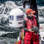 © María Muiña I MAPFRE: Ugo Fonollá a bordo del MAPFRE. Ugo Fonollá on board MAPFRE.