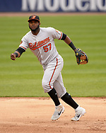 CHICAGO - MAY 01:  Hanser Alberto #57 of the Baltimore Orioles catches against the Chicago White Sox on May 1, 2019 at Guaranteed Rate Field in Chicago, Illinois.  (Photo by Ron Vesely)  Subject:   Hanser Alberto