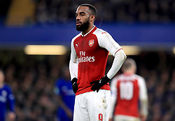Arsenal's Alexandre Lacazette appears dejected during the Carabao Cup Semi Final, First Leg match at Stamford Bridge, London.