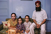 Sikh farm family at home, Yuba City, California. MODEL RELEASED.
