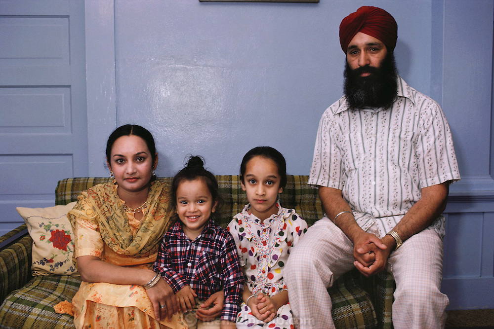 Sikh farm family at home, Yuba City, California. MODEL RELEASED.