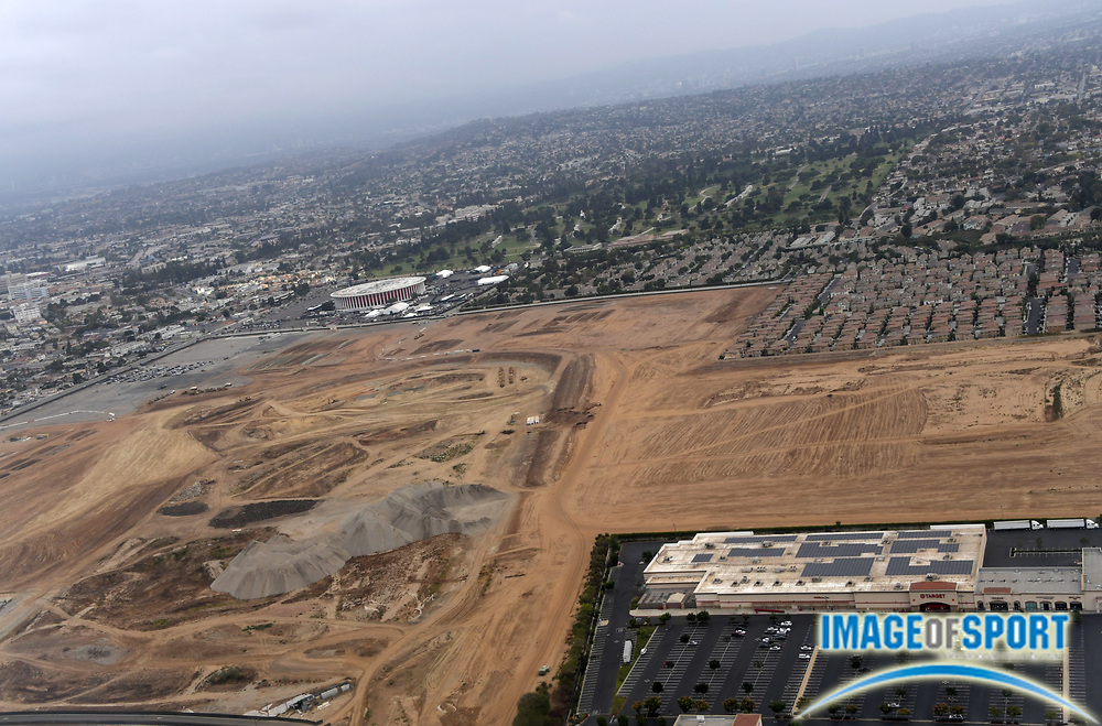 Sep 4, 2016; Inglewood, CA, USA;  General aerial view of the Forum and the Los Angeles Rams stadium under construction on the previous location of the Hollywood Park racetrack that is scheduled to open in 2019. The privately financed stadium by Rams owner Stan Kroenke (not pictured) is the centerpiece of a 298-acre mixed-use development entertainment, retail and office space.