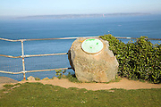St Martin's Point view over sea, Jerbourg, Guernsey, Channel Islands with distant island of Sark