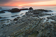 Sunset at Crystal Cove State Park, Newport Beach, Orange County, California.