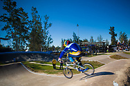 A rider negotiates the landing at the UCI BMX Supercross World Cup in Santiago del Estero, Argintina.