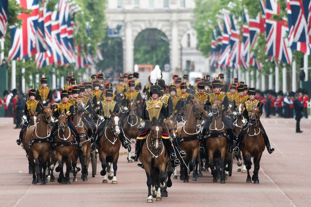 © Licensed to London News Pictures. 08/06/2019. London, UK. Troops parade down The Mall during Trooping the Colour ceremony to mark Queen Elizabeth II's 93rd birthday. Photo credit: Ray Tang/LNP