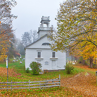 The historic Old Christ Church in Bethel, Vermont, beautifully framed my early morning fog and fall foliage.<br /> <br /> Old Christ Church in Bethel Vermont photography images are available as museum quality photo, canvas, acrylic, wood or metal prints. Wall art prints may be framed and matted to the individual liking and New England interior design projects decoration needs.<br /> <br /> Good light and happy photo making!<br /> <br /> My best,<br /> <br /> Juergen