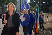 Pro remain campaigners call out to Amber Rudd MP, Work and Pensions Secretary as she arrives at the Cabinet office in Whitehall, London, United Kingdom on 22nd August 2019.