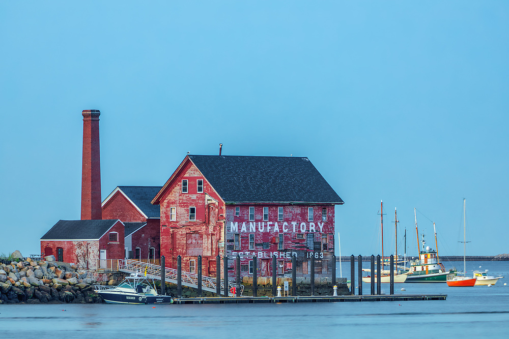 Massachusetts Cape Ann harbor scenery of the historic Gloucester Paint Factory Tarr and Wonson Pint Manufacturing Buildings in Gloucester, MA.<br /> <br /> Blue hour photography pictures of the Gloucester Paint Factory Tarr and Wonson Pint Manufacturing Buildings are available as museum quality photography prints, canvas prints, acrylic prints, wood prints or metal prints. Fine art prints may be framed and matted to the individual liking and interior design decorating needs.<br /> <br /> Good light and happy photo making!<br /> <br /> My best,<br /> <br /> Juergen