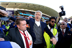 Outgoing Arsenal manager Arsene Wenger says goodbye to the fans after the Premier League match at the John Smith's Stadium, Huddersfield.