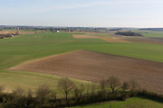 A landscape of fields and farming land looking in the direction of Napoleon's massed French lines during the Battle of Waterloo, on 25th March 2017, at Waterloo, Belgium. Waterloo was fought  on 18 June 1815 between a French army under Napoleon Bonaparte,  defeated by two of the armies of the Seventh Coalition: an Anglo-led Allied army under the command of the Duke of Wellington, and a Prussian army under the command of Gebhard Leberecht von Blücher, resulting in 41,000 casualties.
