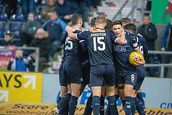 Falkirk team cele Joe McKee scoring their goal. Falkirk 1 v 1 Partick Thistle, Scottish Championship game played 17/11/2018 at The Falkirk Stadium.
