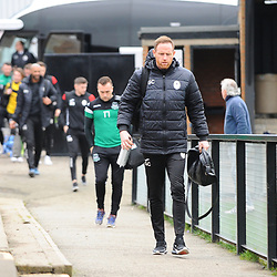 TELFORD COPYRIGHT MIKE SHERIDAN Gavin Cowan arrives at Farsley during the Vanarama Conference North fixture between AFC Telford United and Farsley Celtic at The Citadel on Saturday, January 25, 2020.<br /> <br /> Picture credit: Mike Sheridan/Ultrapress<br /> <br /> MS201920-042