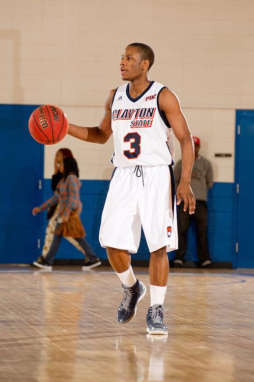 Feb. 09, 2013; Morrow, GA, USA; Clayton State men's basketball player Sidarius Henry against Montevallo at CSU. Photo by Kevin Liles/kdlphoto.com