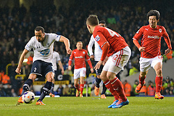 Tottenham's Andros Townsend takes a shot at goal - Photo mandatory by-line: Mitchell Gunn/JMP - Tel: Mobile: 07966 386802 02/03/2014 - SPORT - FOOTBALL - White Hart Lane - London - Tottenham Hotspur v Cardiff City - Premier League