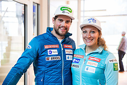 Bostjan Kline and Ilka Stuhec during official presentation of the outfits of the Slovenian Ski Teams before new season 2016/17, on October 18, 2016 in Planica, Slovenia. Photo by Vid Ponikvar / Sportida